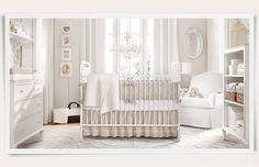 Rooms | Restoration Hardware Baby & Child Birdcages, mirrors, shelf above changing tables, open bookcase, crib in front of window, chair in corner, basket in other corner, vertical frames