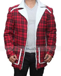 This stylish checked winter jacket was worn by Wade Wilson and Vanessa in the…