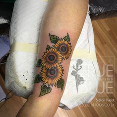 Flowers of the Sun - True Blue Professional Tattoo Studio Professional Tattoo, Tattoo Studio, Drake, Sun, Tattoos, Flowers, Tatuajes, Tattoo, Royal Icing Flowers