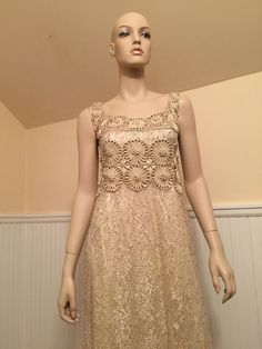 Badgley Mischka 6 Small Beige Gold Floral Lace Full Length Sleeveless Dress Gown | eBay
