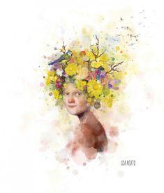 I rett jord Old Postcards, Whimsical Art, Bird Feathers, Her Hair, Illustration Art, Illustrations, Lisa, Drawings, Floral