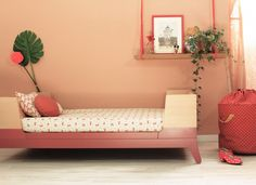 Toddler bed in Red and Birch by Nobodinoz | Nubie - Modern Baby Boutique