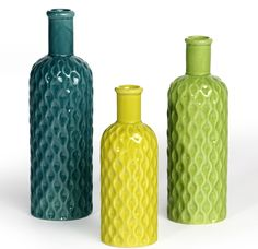 Shanghaied's Ceramic Dimple Bottle Vases in blue-green, yellow-green, and grass green shades.