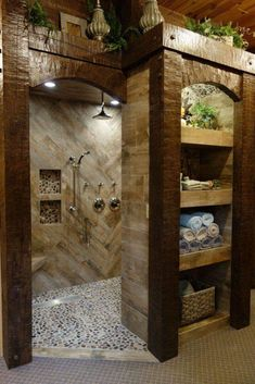 bathroom remodel before and after * bathroom remodel ; bathroom remodel on a budget ; bathroom remodel before and after ; bathroom remodel with tub Dream Bathrooms, Beautiful Bathrooms, Log Cabin Bathrooms, Chic Bathrooms, Rustic Bathroom Designs, Small Rustic Bathrooms, Shower Designs, Contemporary Bathrooms, Home Remodeling