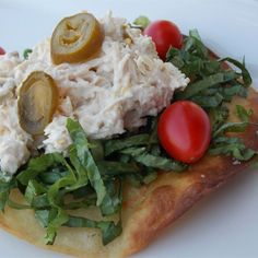"""Twisted Chicken Salad with Tostadas I """"This was a fun and easy lunch to send with my teenage daughter."""""""