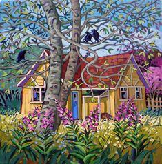 Nurture by Greta Guzek, 36 x Acrylic on Canvas Cute Cottage, Canadian Artists, Canadian Painters, Pictures To Paint, Painting Pictures, Landscape Art, Flower Landscape, Artist Art, Unique Art