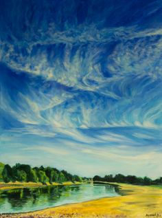 ARTFINDER: Cirrus over Chiswick by Alex Ebdon - I was walking along the Thames path on a sunny day, to be met by this stunning view. The cirrus clouds created the most amazing feathered pattern above the r...