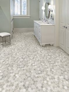 Photo On Bathroom floor idea Sheet Vinyl that looks like varigated hex tiles Rich Onyx from the Easy Living Collection by Tarkett