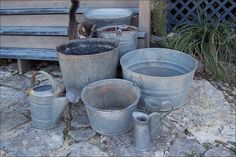 Galvanized Garden Tubs and Containers eclectic outdoor decor