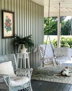 "Tracey Hiebert on Instagram: ""Porch sitting....I pulled this old rug out of the basement, and I am kind of liking it under the porch swing..Dartagnon approves  too 😻.…"""