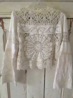 reworked shirt, recycled doilies, fabric, crocheted sweater, boho, gypsy