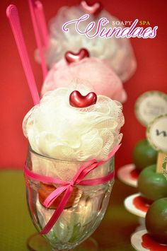 Spa Party Sundae! Would be adorable way to gift and present Loufas to wash off the makeup or face mask! :)