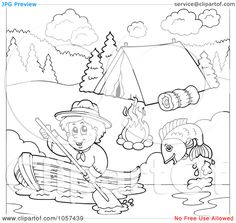 Royalty-Free Vector Clip Art Illustration of a Coloring Page Outline Of A Boy Boating Past A Campground by visekart