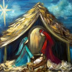 Christmas Paintings On Canvas, Christmas Canvas, Christmas Art, Xmas, Easy Canvas Painting, Painting & Drawing, Canvas Art, Nativity Painting, Jesus E Maria
