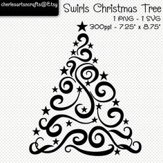 Items similar to Swirls Christmas Tree SVG and PNG Digital Files Christmas Rock, Christmas Crafts, Christmas Images, Christmas Decorations, Christmas Tree Drawing Easy, Tree Svg, Art Clipart, Christmas Clipart, Swirls
