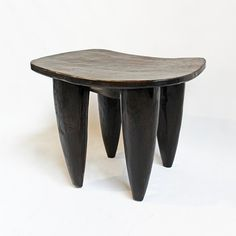Mix furniture - Senufo Wood Carved Stool / Side Table.   Dark brown finish.