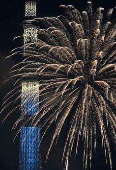 HANABI with Tokyo Skytree, Japan.  http://adventurebods.com or find us on http://facebook.com/adventurebods