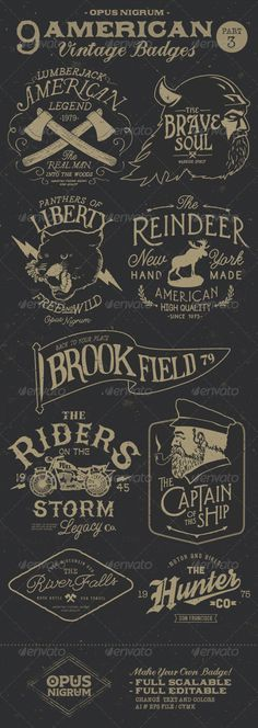 American Vintage Badges Part 3 - Badges & Stickers Web Elements