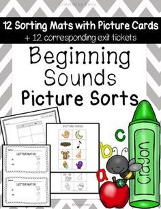 Fundations Kindergarten aligned (COLOR, CUT, GLUE). Picture sorts aligned to instructional sequence + corresponding exit tickets. Includes: ALL LETTERS A-Z, 12 sorting mats each with picture cards (bw & color), 12 corresponding exit tickets.Includes the following sorts:*t, b, f*n, m*c, a*i, r*o, g*d, s*e, u*l, h, k*p, j*v, w*z, q*y, x**All worksheets have 3 pictures matched per beginning sound (78 DIFFERENT IMAGES).