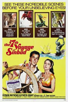 The Voyage of Sinbad 1958 Poster - Products - Yorgo Angelopoulos Love Movie, Movie Tv, Movie Theater, Sinbad The Sailor, Cinema Posters, Film Posters, Love Posters, Adventure Movies, Original Movie Posters