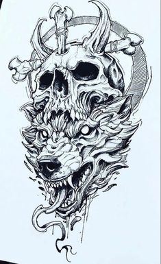 Dark Art Drawings, Tattoo Design Drawings, Skull Tattoo Design, Tattoo Sketches, Tattoo Designs, Viking Drawings, Scary Tattoos, Dope Tattoos, Skull Tattoos