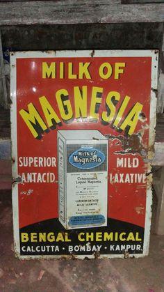 MILK OF MAGNESIA VINTAGE HOSPITAL PHARMACY CHEMIST PORCELAIN ENAMEL SIGN 1930s #MilkofMagnesia