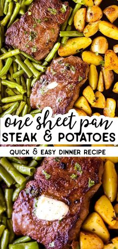 Steak and Potato Sheet Pan Dinner Cook your top sirloin steak on a sheet pan in the oven with potatoes and veggies like green beans or asparagus for a change! This is an easy recipe for a quick sheet pan dinner – great for a healthy family dinner. Healthy Family Dinners, Healthy Steak Dinners, Steak Recipes In Oven Dinners, Meals With Steak, Healthy Steak Recipes, Dinner Healthy, Healthy Food, Dinner Recipes Easy Quick, Easy Family Recipes