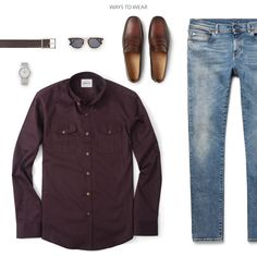 Dark Burgundy Men's Utility Shirt Outfit