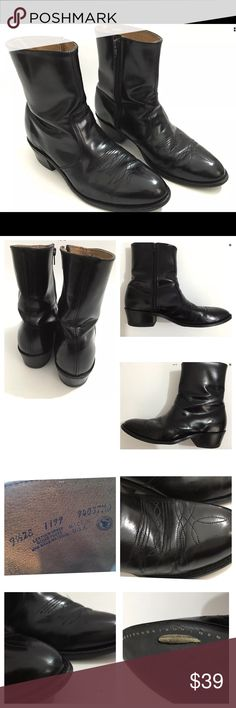 """Leather Classics Men's Black Leather Cowboy Boots Leather Classics Men's Pre owned Black Leather Boots In Great Shape. Leather Has been recently Conditioned Has Signs of being worn- Shown in Photos  No Stains or Fading Original box is Not Included Size: 9.5 2E Boot Shaft:7.5"""" Circumference:5"""" Outsole Heel to Toe: 11.5""""Item comes from a pet free/smoke free clean environment please contact me for any additional questions Leather Classics Shoes…"""