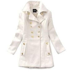 White Vintage Double Breasted Woolen Coat ($67) ❤ liked on Polyvore featuring outerwear, coats, jackets, tops, cardigans, white, wool coat, vintage coat, vintage wool coat and white wool coat