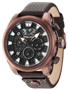 Mephisto is made from stainless steel casing, which comes in two vintage colours; antique silver or antique copper. Both watches are made using ion plating, making them practically invincible. With a bold skull design on the right and a gothic Police logo Gents Watches, Casual Watches, Cool Watches, Watches For Men, Mephisto, Hermes, Police Watches, Black Bracelets, George Clooney