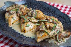 Chicken in a Mushroom, Tarragon and Mustard Pan Sauce