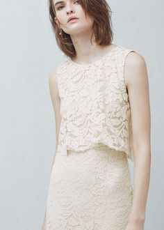 Długa, gipiurowa sukienka | MANGO
