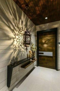 Entry Way Design, Wall Design, House Design, Entrance Design, Door Design, Modern Lighting Design, Contemporary Interior Design, Apartment Front Doors, Farmhouse Style