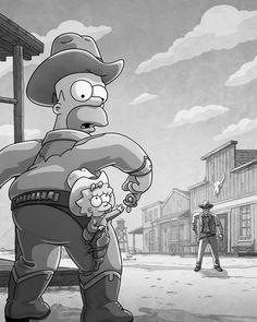 """""""Cowboy hats off to Julius Preite for his depiction of breaking Gunsmoke's record! Simpsons Drawings, Simpsons Art, Simpson Wallpaper Iphone, Cartoon Wallpaper, Best Cartoons Ever, Cool Cartoons, Homer Simpson, Cartoon Shows, Cartoon Art"""