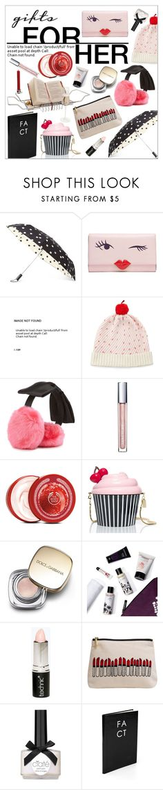"""""""Last Minute Gifts for Her"""" by szaboesz ❤ liked on Polyvore featuring Kate Spade, H&M, The Body Shop, Dolce&Gabbana, Cowshed, Boohoo, Emma Lomax, Ciaté and Sloane Stationery"""