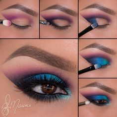 Purple and blue eyeshadow, eye make-up Purple Eye Makeup, Love Makeup, Makeup Inspo, Makeup Inspiration, Makeup Tips, Hair Makeup, Makeup Ideas, Makeup Tutorials, Peacock Eye Makeup