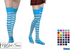 NyGirl Sims 4: Stripes and Polka Dot Thigh High Socks