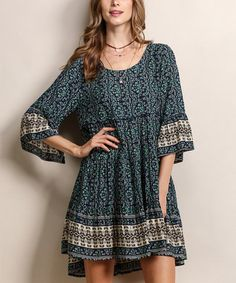 Loving this Teal Mixed Media Bell-Sleeve Peasant Dress on #zulily! #zulilyfinds