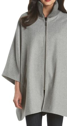 A fall must-have for chilly offices. | DKNY knit cape