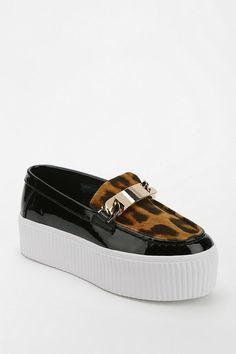 Sweeet. Jeffrey Campbell Luis Leopard Panel Platform Loafer #urbanoutfitters
