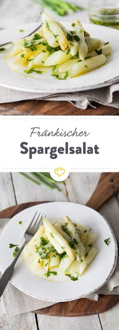 Lass die Sauce Hollandaise mal weg und iss deinen Spargel kalt. Als Salat in würziger Vinaigrette mit frischen Kräutern machen die Stangen richtig was her. (Fitness Food Snacks)