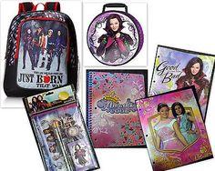 """Disney Descendants 16"""" Backpack Lunch Bag Folder Notebook Pencils Eraser Sharpen"""