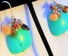 Handmade Dangle beaded earrings Large Flat by designsbyegs on Etsy
