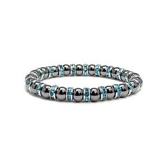 Accents Kingdom Women's Magnetic Hematite Tuchi Pearl Bracelet with Simulated Aquamarine Crystal, 7.5' ** Visit the image link more details.