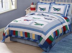 Aviator Fly Away Airplane Quilt Bedding Boys Bedding Sets, Sports Bedding, Baby Boy Bedding, Airplane Bed, Airplane Quilt, Twin Quilt, Quilt Bedding, Twin Beds For Boys, Peach Bedding