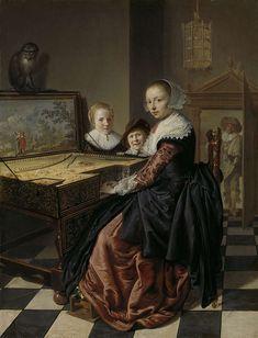 Jan Miense Molenaer | Woman at the Virginal, Jan Miense Molenaer, 1630 - 1640 | De virginaalspeelster. Interieur met een jonge vrouw spelend op een virginaal. De deksel van het instrument is beschilderd met een voorstelling van een paar in een landschap, op de deksel zit een aap. Achter de virginaal staan een jongetje en een meisje, vermoedelijk een jonger broertje en zusje van de schilder. Rechts een doorkijk naar een man die in de deuropening staat. Aan het plafond hangt een vogelkooi…