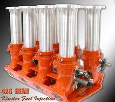 "Mopar Hemi-Head ""RB"" - 426, 472, 528, 540, & 572 Aftermarket 8x1 Barrel Injector Intake, by Hillborne."