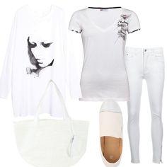 Una proposta total white che si compone di una felpa con il disegno di un volto di donna, da indossare su una t-shirt e un paio di jeans skinny. Le scarpe sono delle slip on con punta metallizzata, mentre la borsa è una shopping comoda e ampia.