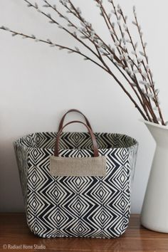 Basket from Handmade Style by Noodlehead | Radiant Home Studio | Neutral geometric home dec sewing pattern